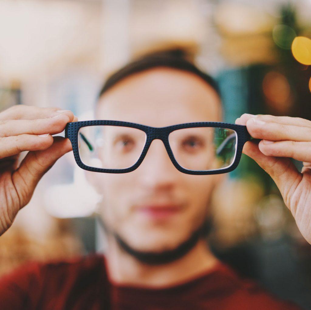 black rectangle glasses